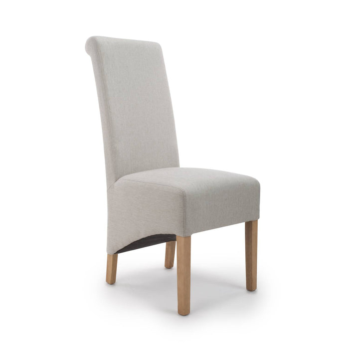 The Espresso Fabric Cappuccino Herringbone Roll Back Dining Chair