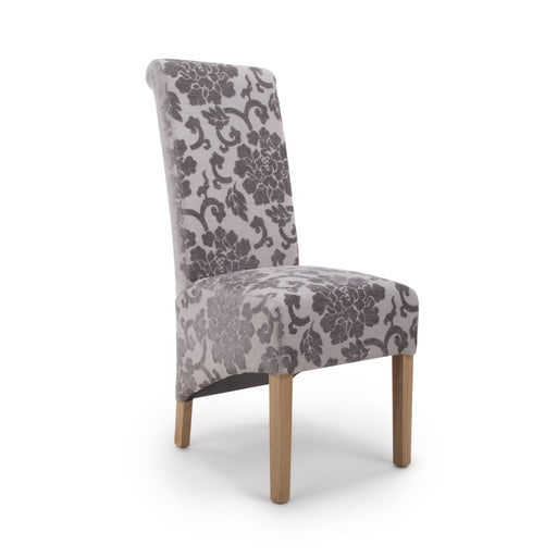 The Espresso Fabric Mink Baroque Roll Back Dining Chair