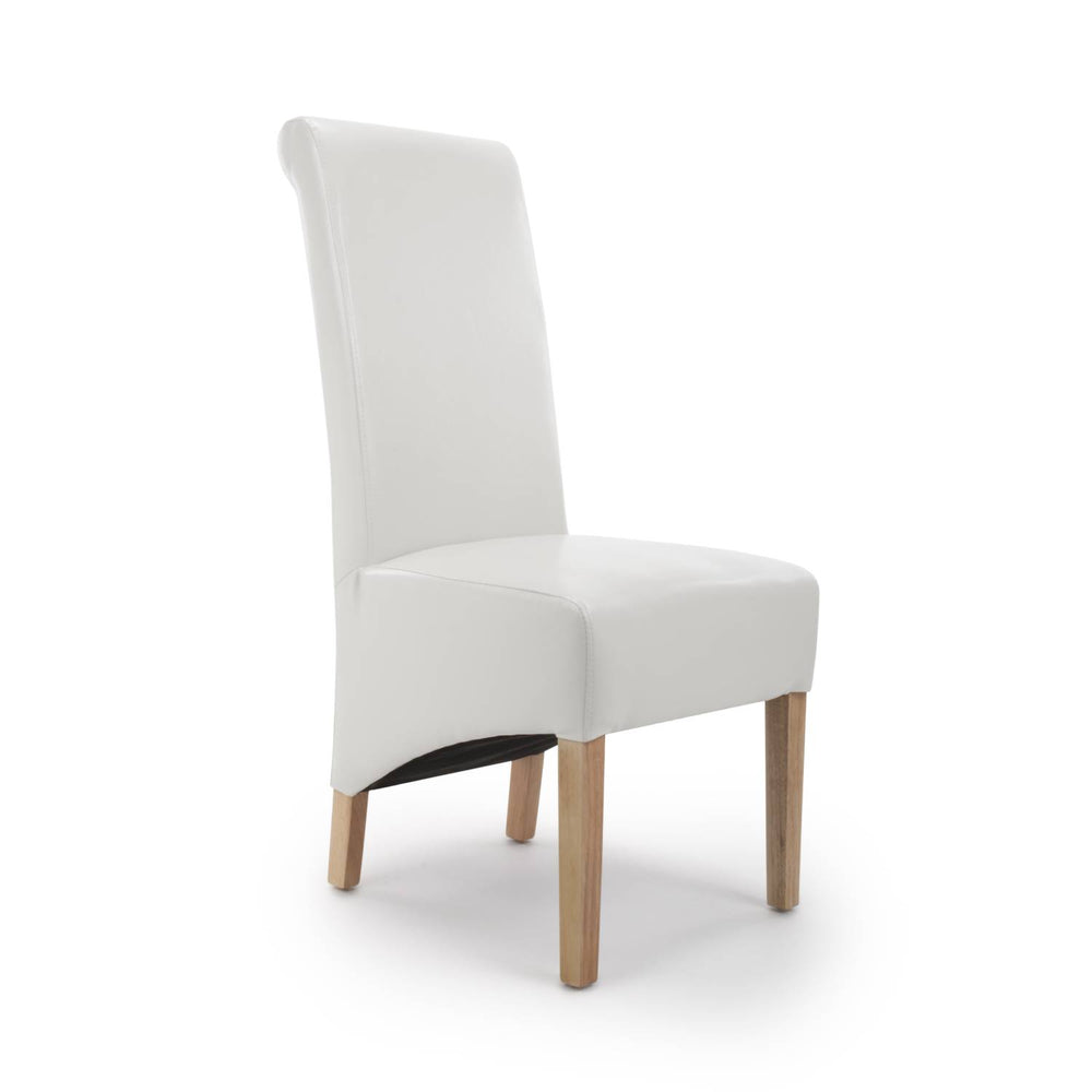 The Espresso White Leather Rollback Dining Chair