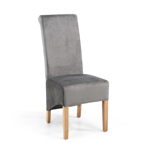 The Espresso Fabric Velvet Grey Roll Back Dining Chair