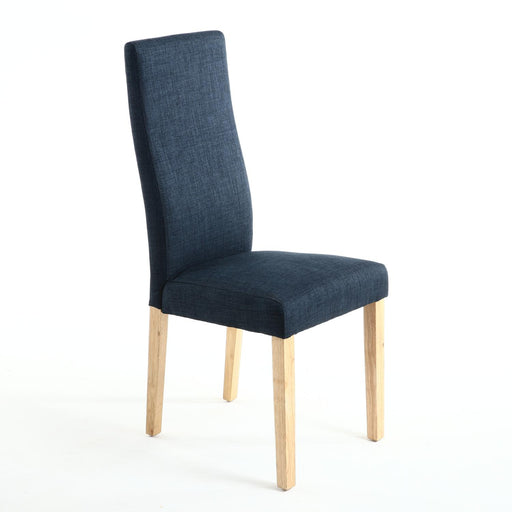The Espresso Blue Linen Dining Chair