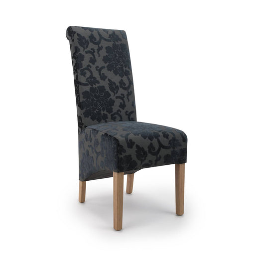 The Espresso Fabric Charcoal Baroque Roll Back Dining Chair