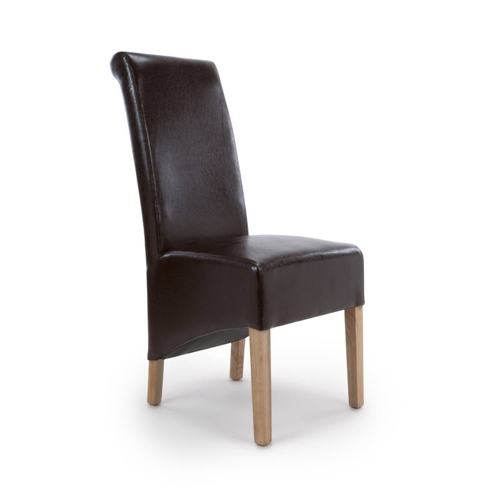 The Espresso Leather Brown Roll Back Dining Chair