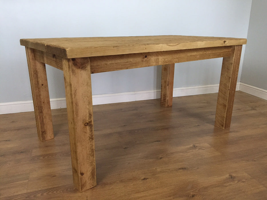 The Authentic Light Waxed Plank Dining Table with Bench