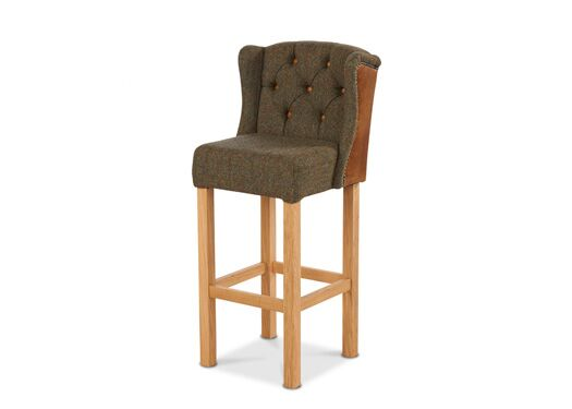 Winged Harris Tweed Italian Leather Gamekeeper Moss And Brown Cerrato Barstool