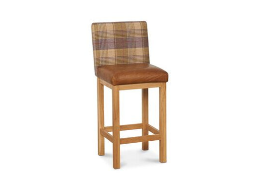 Jacobs Highback Moon Wool Italian Leather Huntingtower Grape With Brown Cerrato Seatpad Barstool