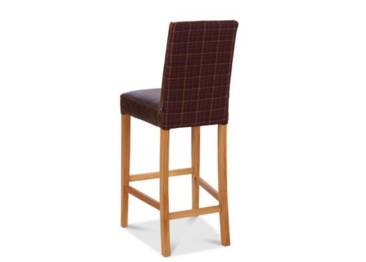 Jacobs Highback Moon Wool Italian Leather Bartollo And Portabello Check Brown Pink Barstool