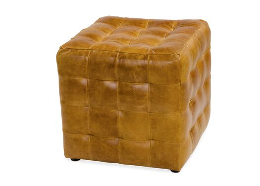 Italian Leather Brown Cerrato Patchwork Cube