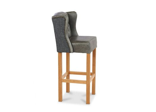 Winged Harris Tweed Italian Leather Grey Cerrato And Vintage Flint Barstool