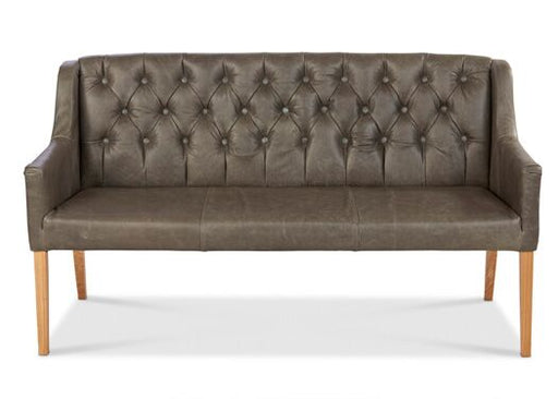 Churchill 2-Seater Italian Leather Grey Cerrato With Thorpe Taupe