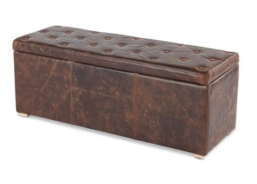 Italian Leather Barthollo With Buttons Storage Cube Bench - IN STOCK