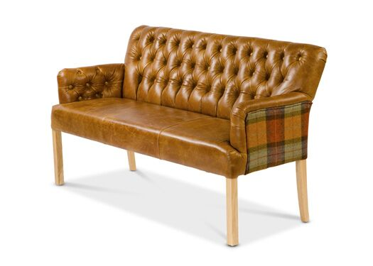 Scout 3-Seater Moon Wool Italian Leather Oiled Leg Brown Cerrato With Skye Burnt Orange