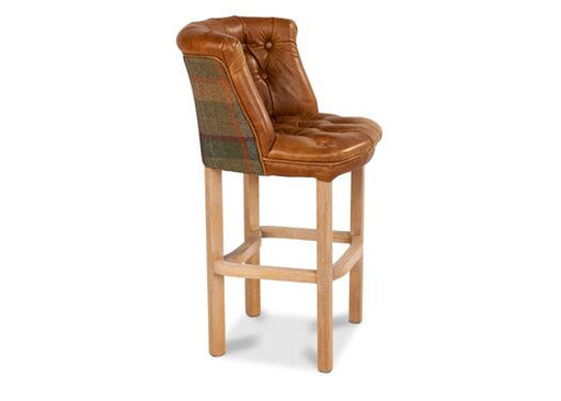 Parker Italian Leather Moon Wool Brown Cerrato Malham Green Barstool