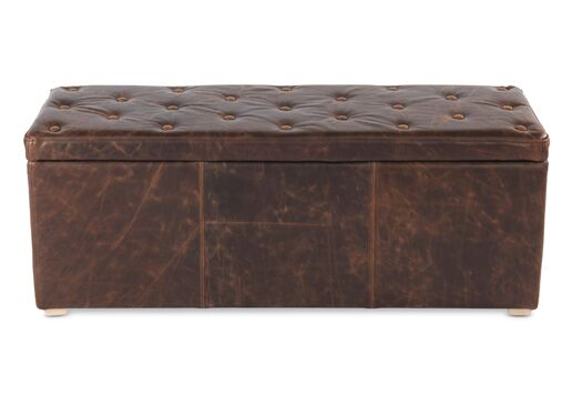 Italian Leather Barthollo With Buttons Storage Cube Bench