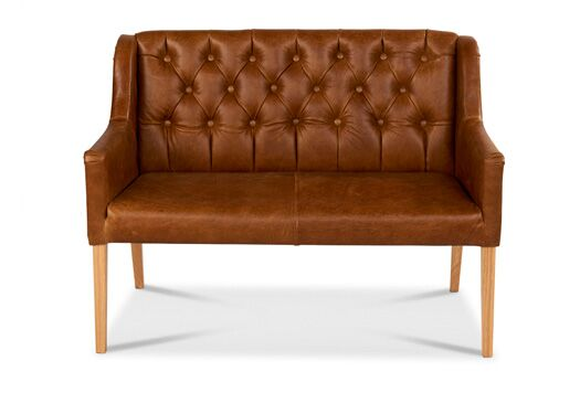 Churchill 2-Seater Italian Leather Brown Cerrato With Malham Natural