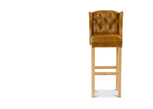 Winged Moon Wool Italian Leather Brown Cerrato And Traditional Camel Barstool