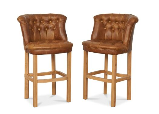 Parker Lacquered Leg Italian Leather Brown Cerrato Barstool