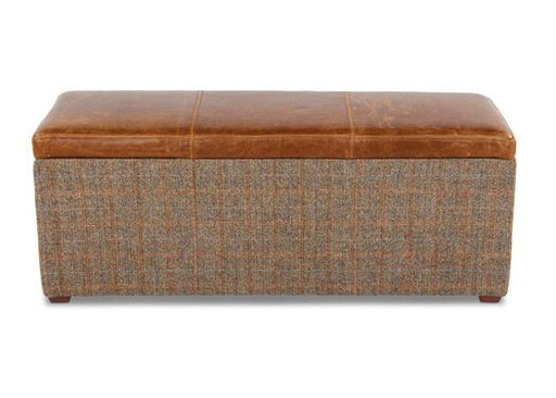 Harris Tweed Italian Leather Gamekeeper Thorn With Brown Cerrato Lid Storage Cube