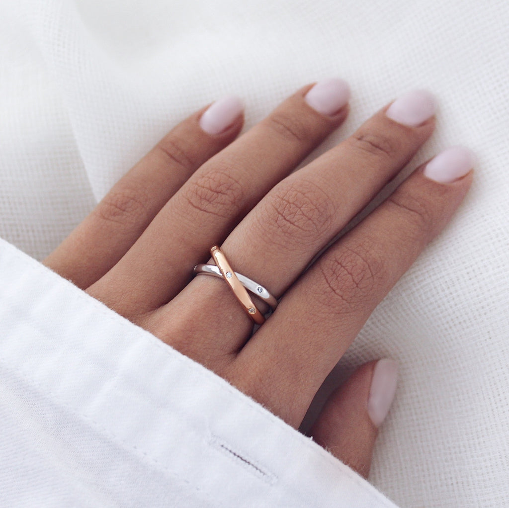 Angelina Ring Silver & Rose Gold