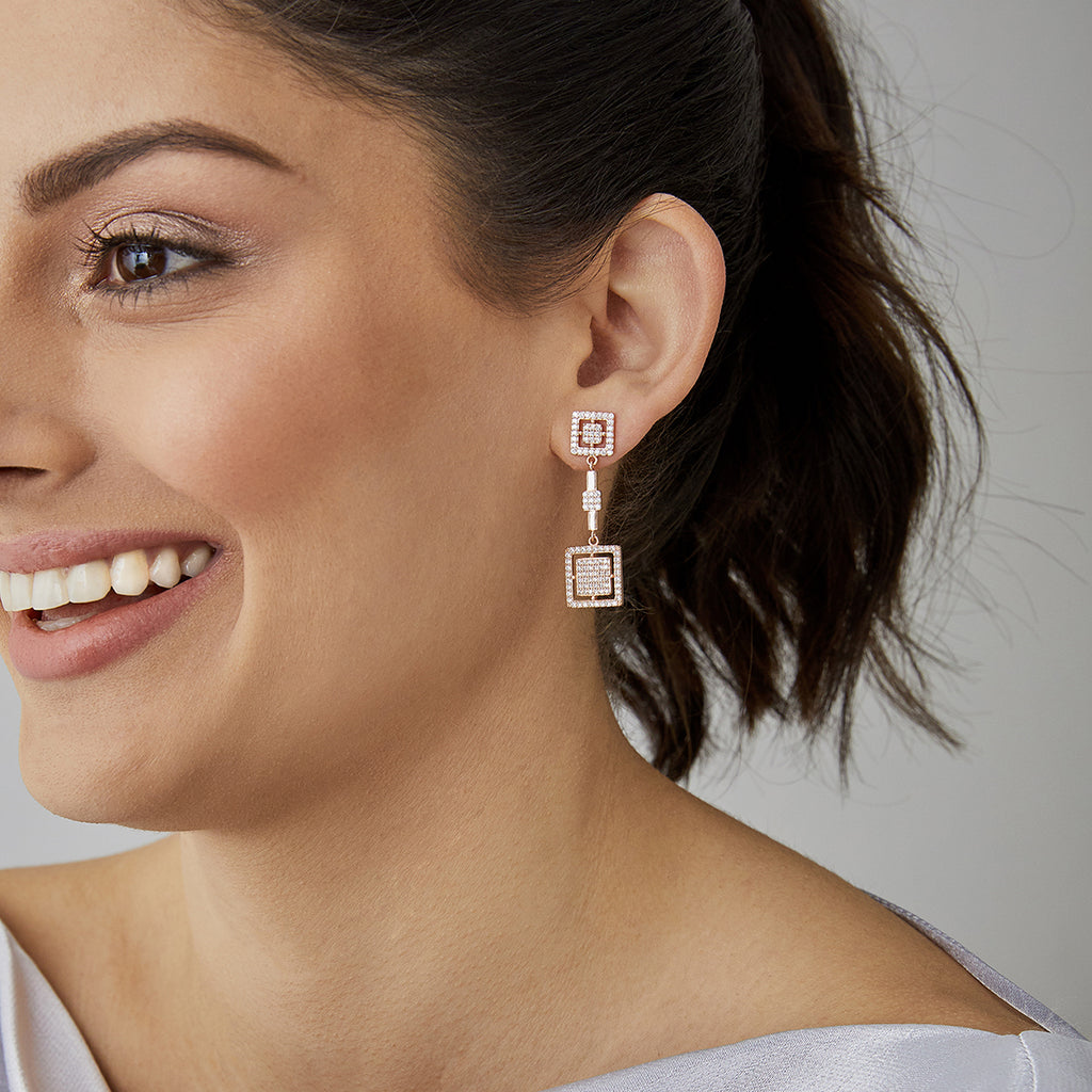Stefania Drop Earrings Rose Gold