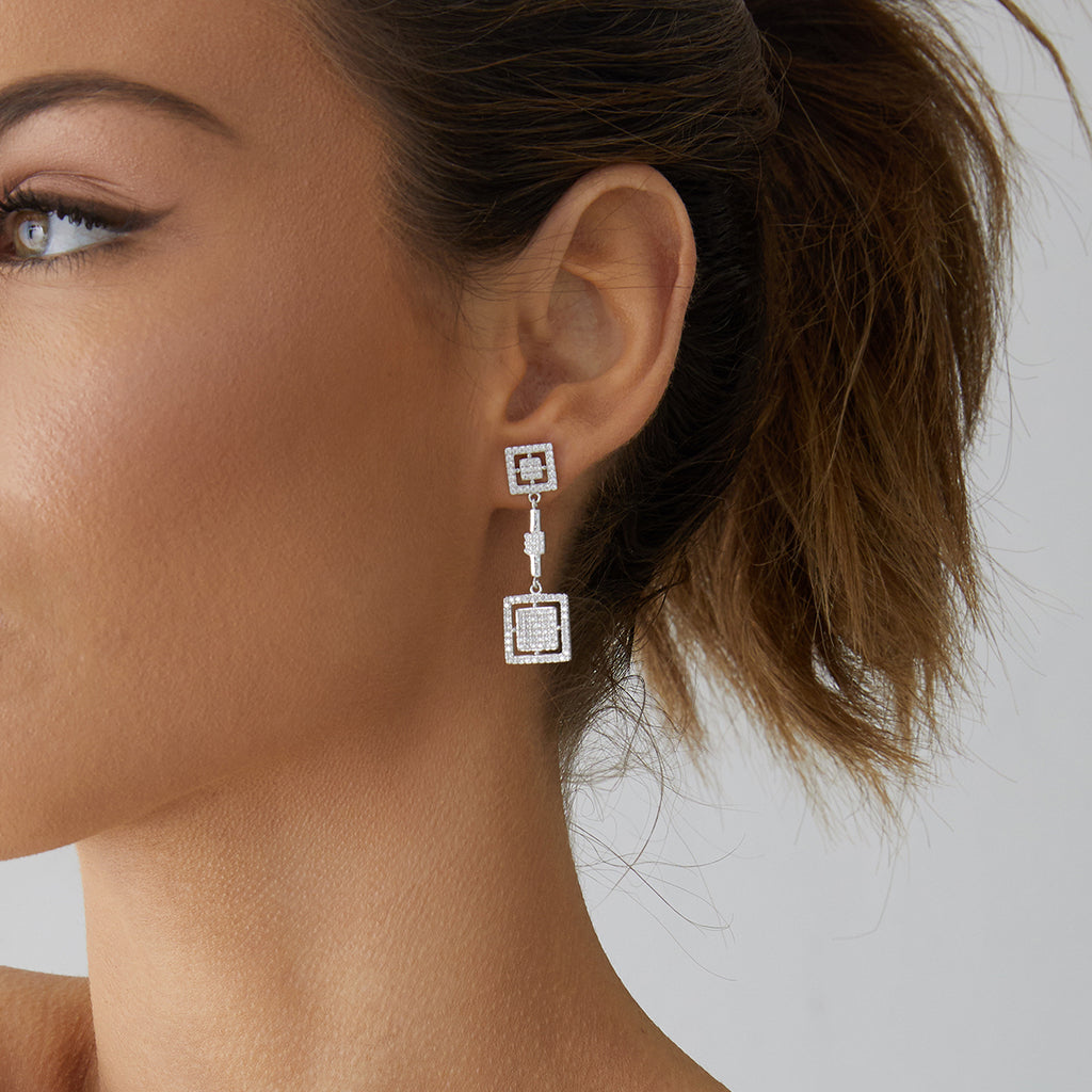 Stefania Drop Earrings Silver