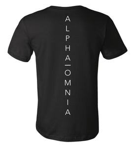 Alpha Omnia Black Tee American Flag on Front. Alpha Omnia Lettering on Back. 100% Cotton.