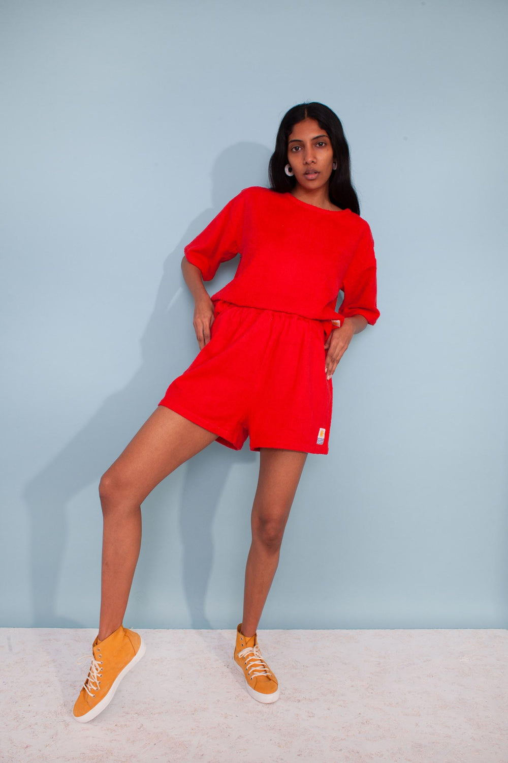 Basic Towelling Shorts Red