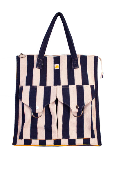 Striped Shopper Navy