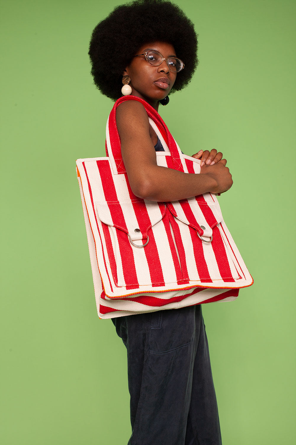 Striped Beach Bag Red