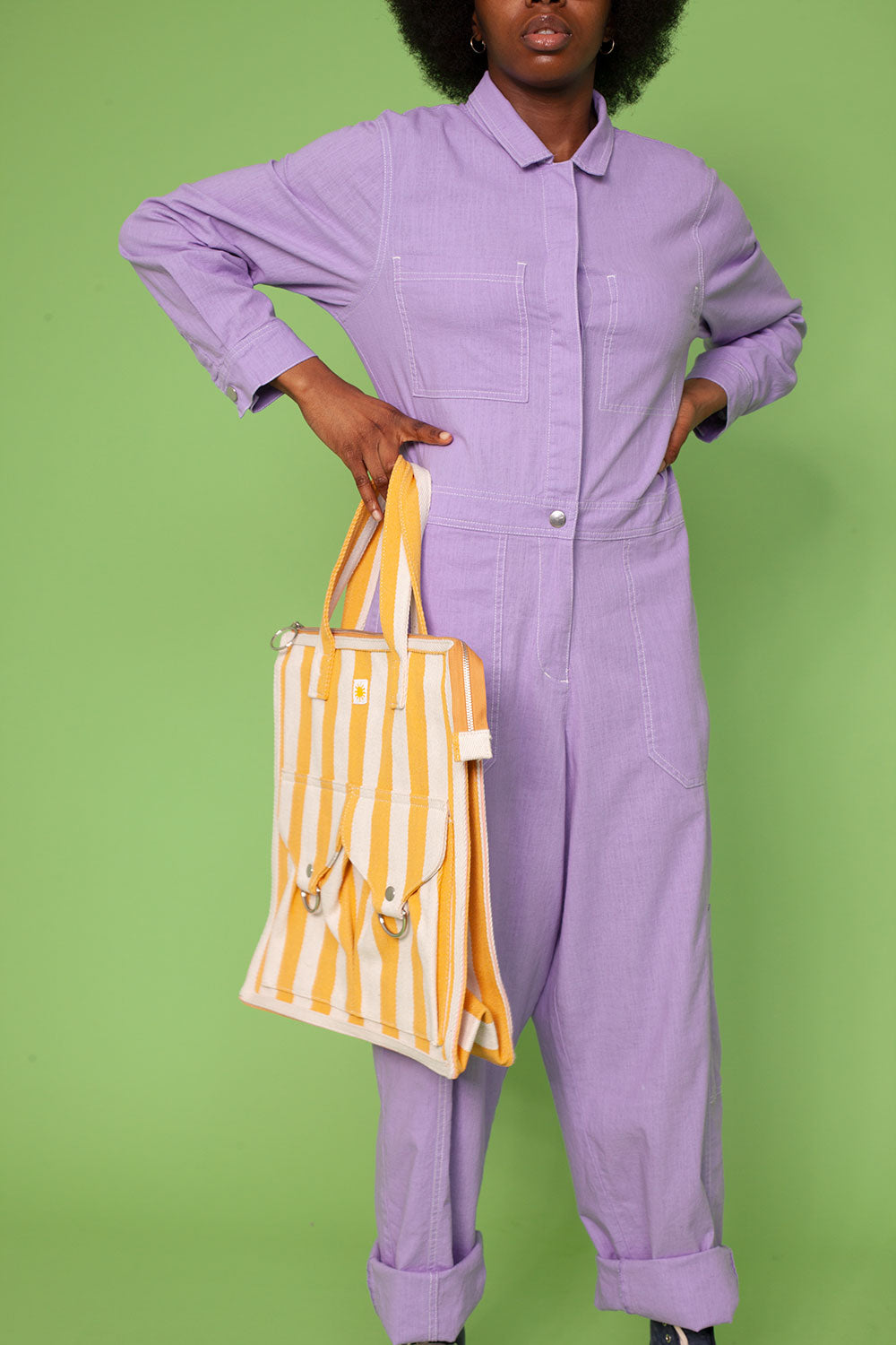 Striped Beach Bag Yellow