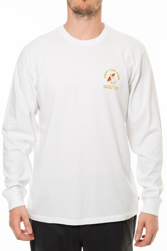 Pray For Surf Long Sleeve Tee (White)