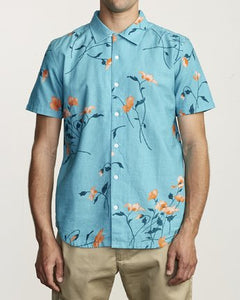 Lazarus Floral Short Sleeve Button Up (Bermuda Blue)