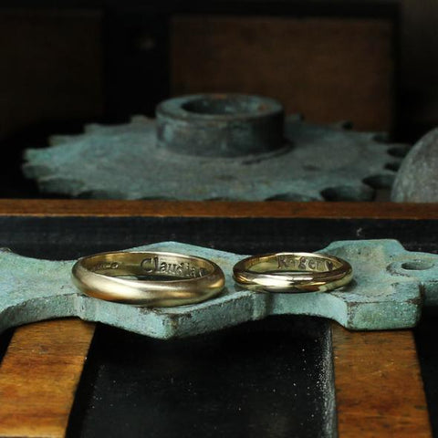 Wedding rings with names engraved