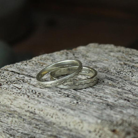 Handmade gold and silver wedding rings