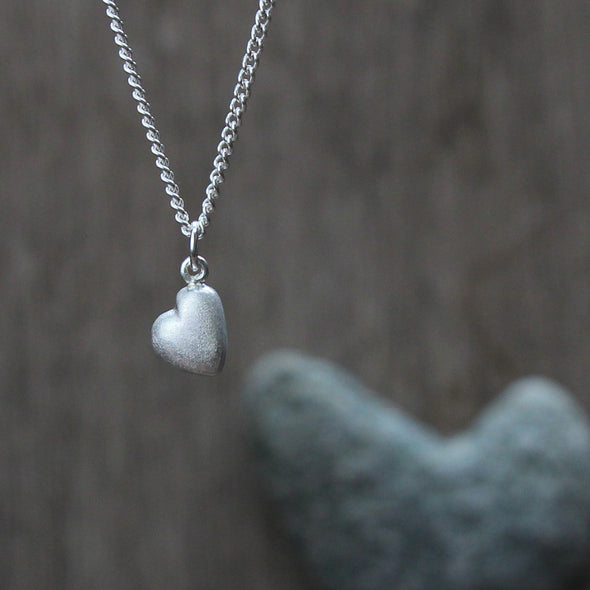 Medium solid silver pebble heart