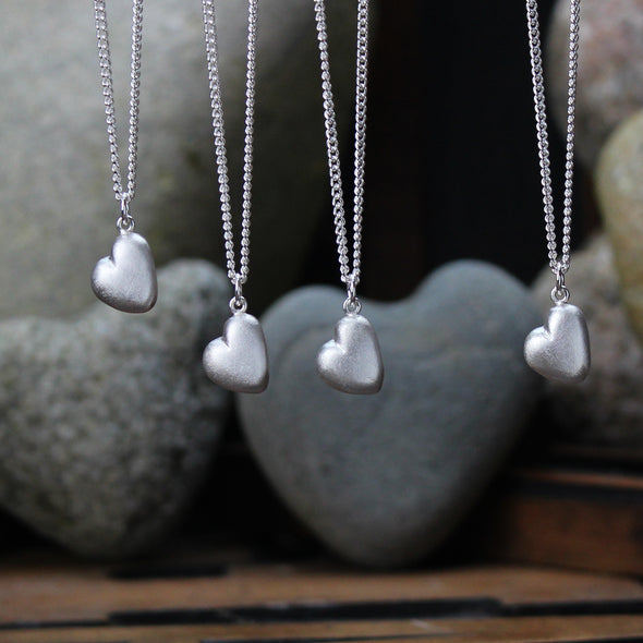 Solid silver pebble heart