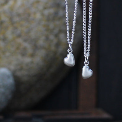 Mini solid silver pebble heart