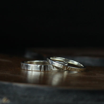 White Gold bands with a textured finish