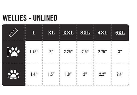 Dog Boots Size Chart Wellies
