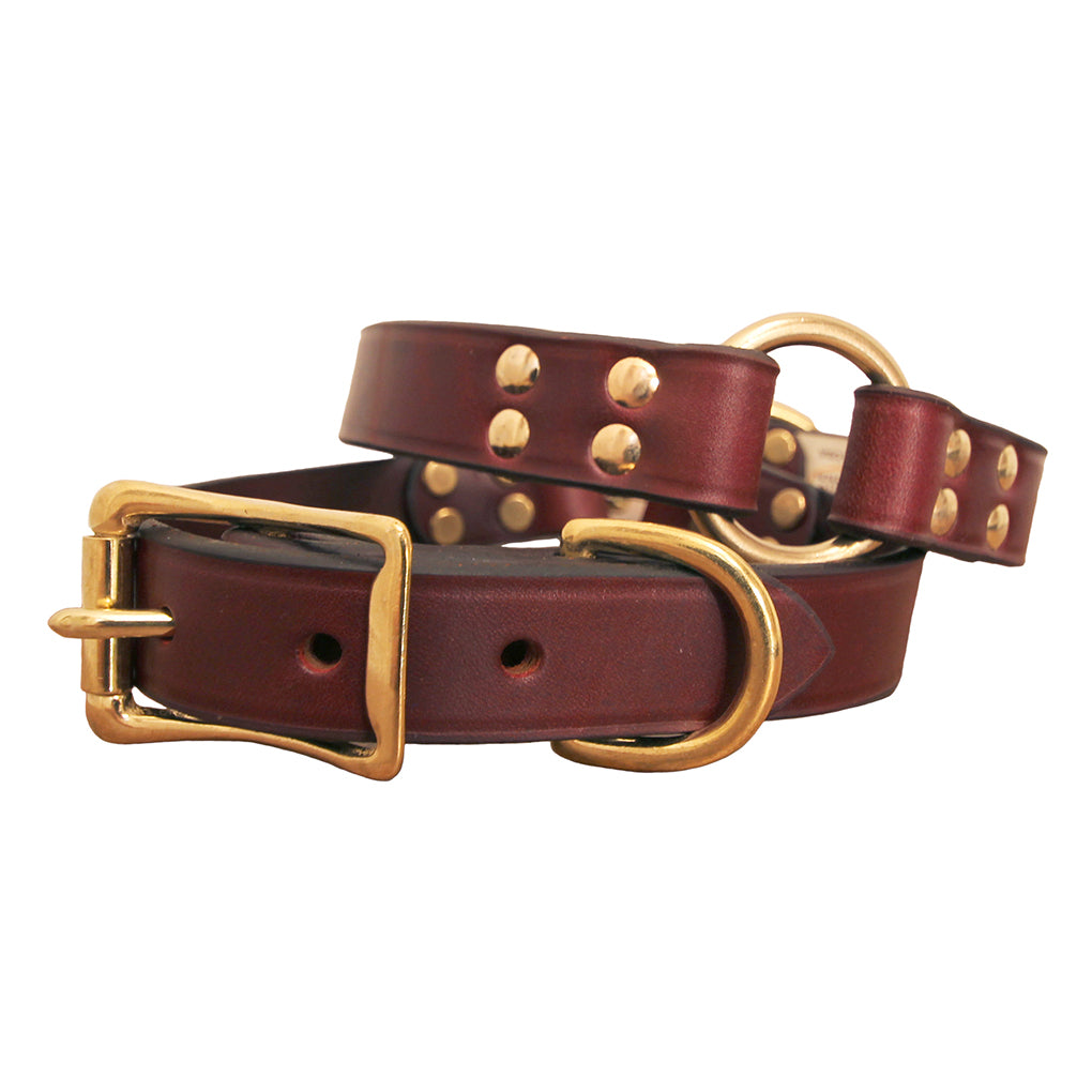 Center Ring Leather Hunting Dog Collar