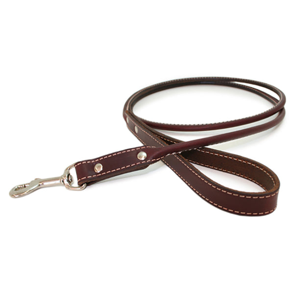 Burgundy Rolled Leather Dog Leash