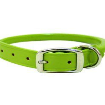 Green Rolled Leather Dog Collar