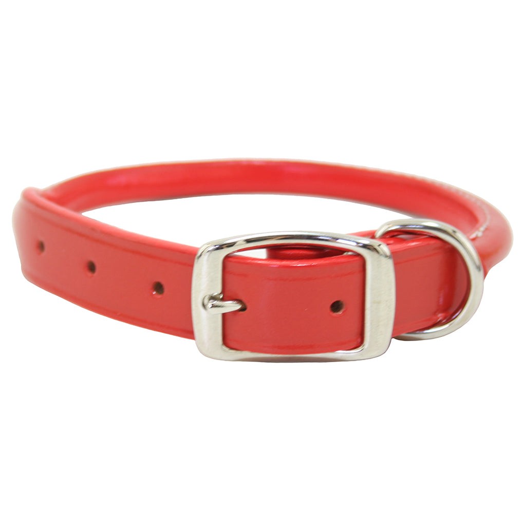 Orange Rolled Leather Dog Collar