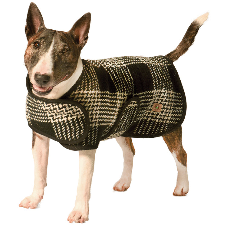 Black and white plaid dog coat