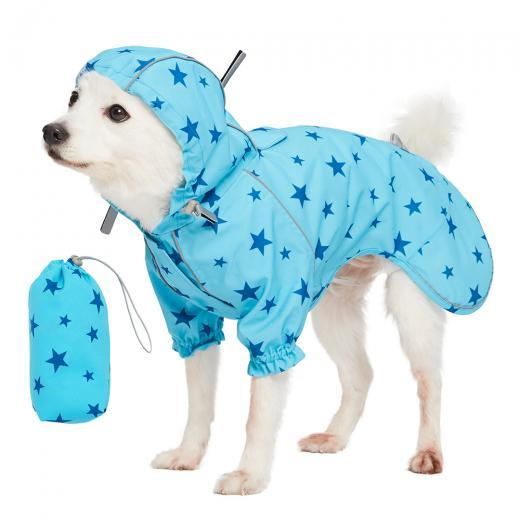 Blue reflective dog raincoat
