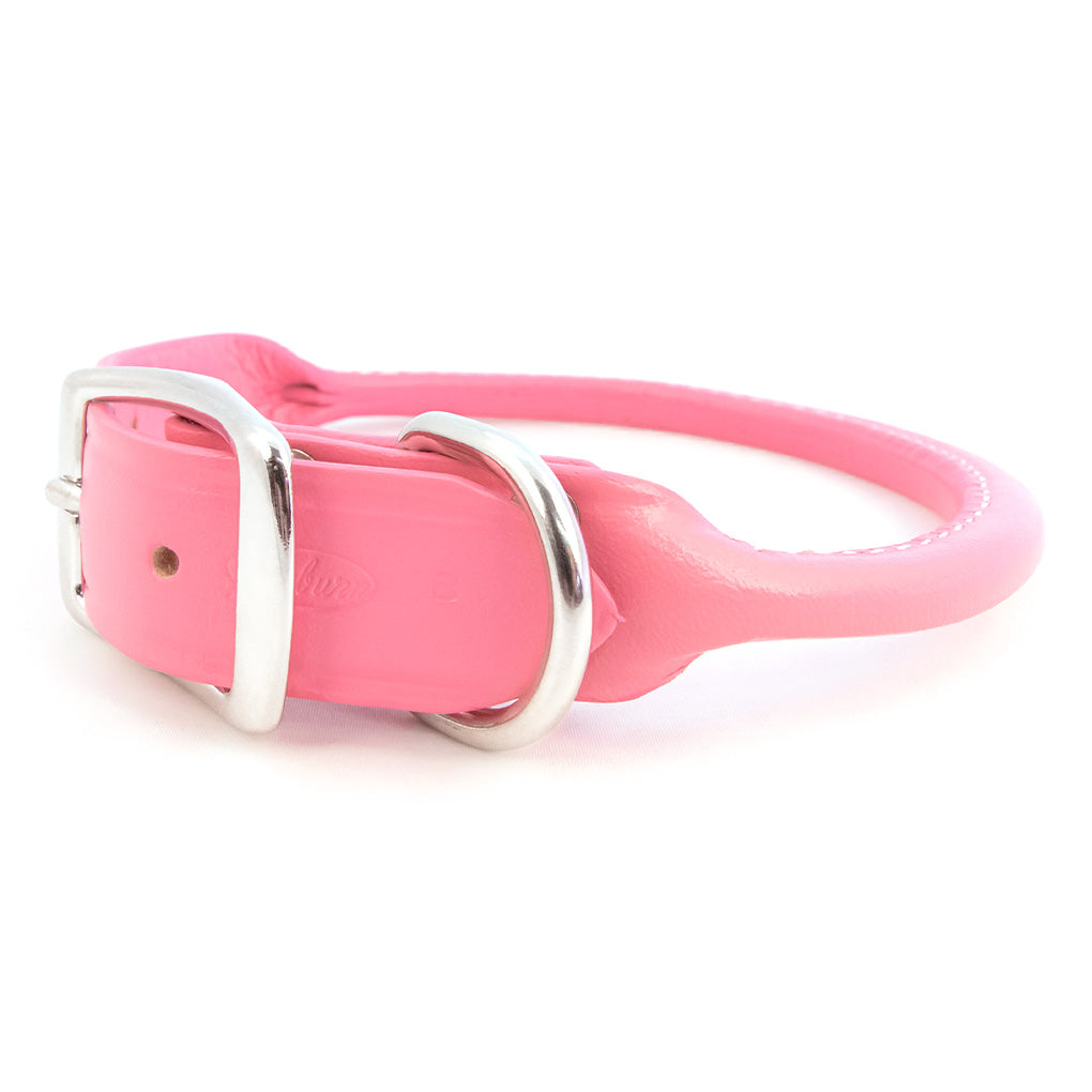 rolled leather pink dog collar