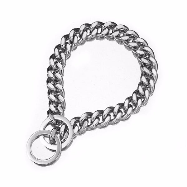 silver dog chain collar