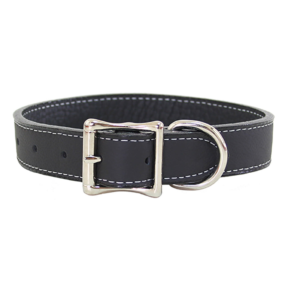 black soft leather dog collar