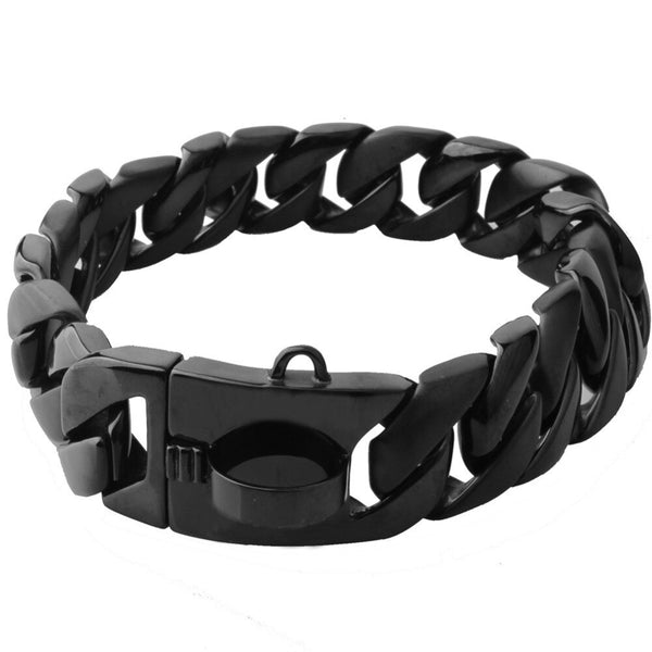 Black dog chain collar