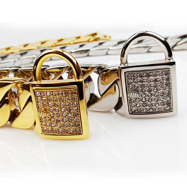 cuban link dog collar with rhinestone clasp